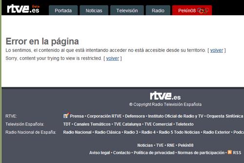 Error en la web de RTVE: 'Lo sentimos, el contenido al que está intentando acceder no está accesible desde su territorio.'