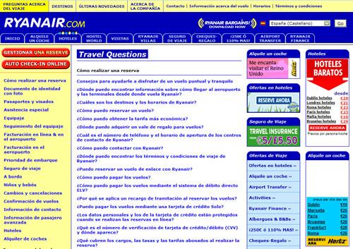Captura de la página de FAQ de Ryanair