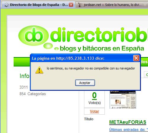Navegador con mensaje de error 'lo sentimos, su navegador no es compatible con su navegador'