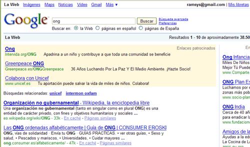 Enlaces patrocinados en Google