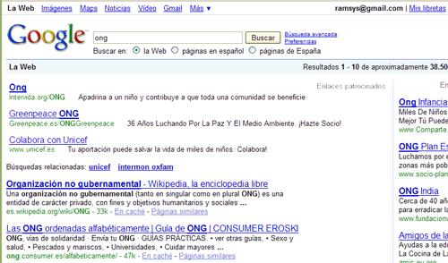Enlaces patrocinados en Google, mimetizados en los resultados