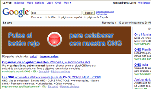 Enlaces patrocinados en Google, en forma de banner