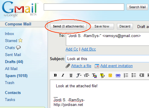 Composing a message in GMail, with the button 'Send (0 attachments)' highlighted