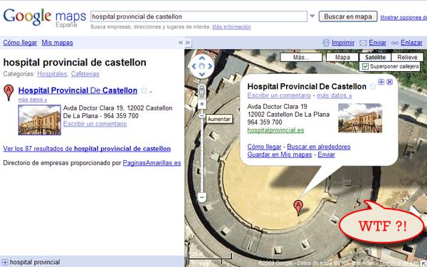 Imagen de Google Maps en la que se ubica el Hospital Provincial de Castellón en una plaza de toros