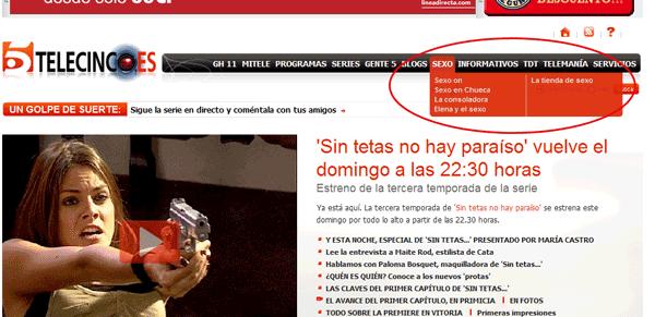 Portada de telecinco.es, con la opción de navegación 'SEXO' destacada