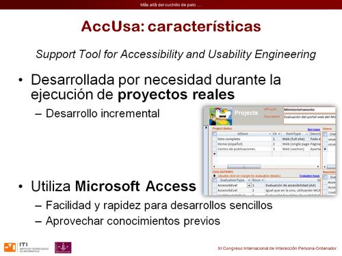 Algunas características de la herramienta AccUsa