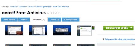 Detalle de las pestañas en la página de descarga; el enlace principal desaparece al cambiar de pestaña