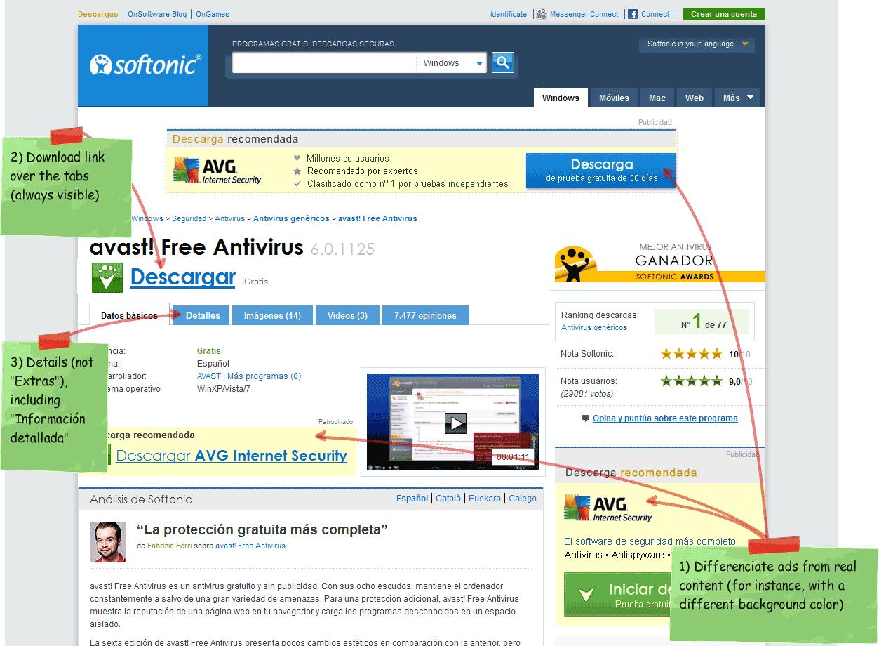 Sugerencias de rediseño para la página de descargas de Softonic