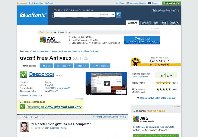 Página de descarga de Softonic (antivirus avast!)