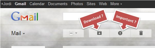 Guess for two of the buttons in new Gmail interface: download? important?