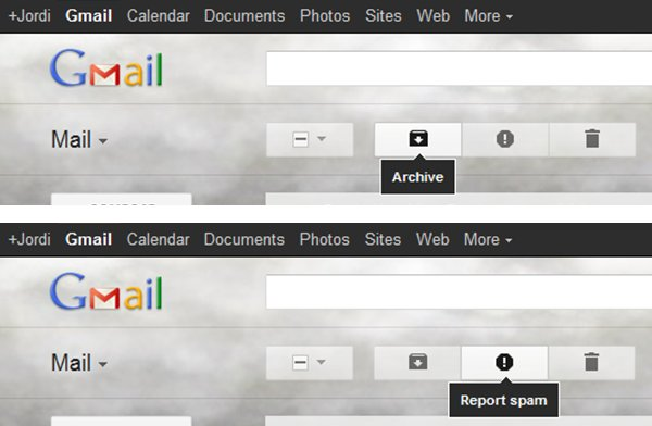 Real meaning of the icons: archive and spam.