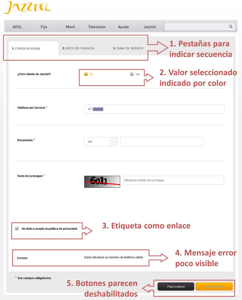 Errores de usabilidad en el formulario de contacto de Jazztel