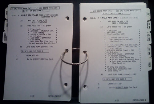 Checklist used during a NASA space mission