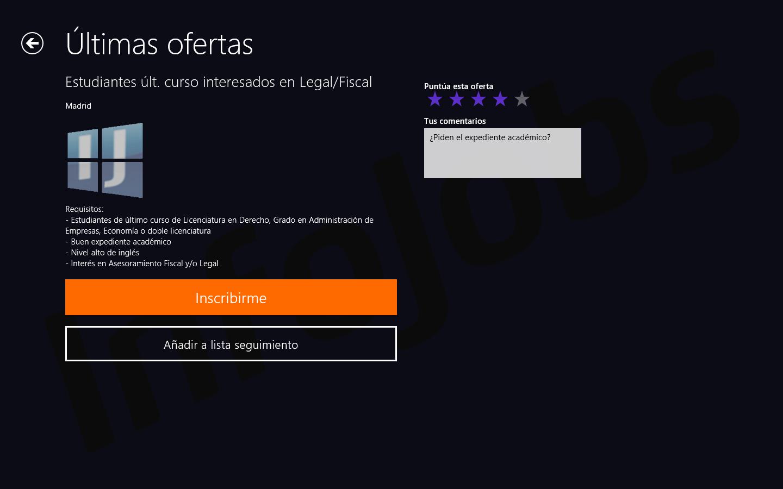 Captura de pantalla con el detalle de una oferta