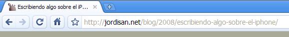 Barra de direcciones de Google, con el servidor más destacado en la URL