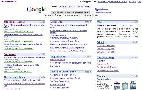 Página principal de Google, personalizada