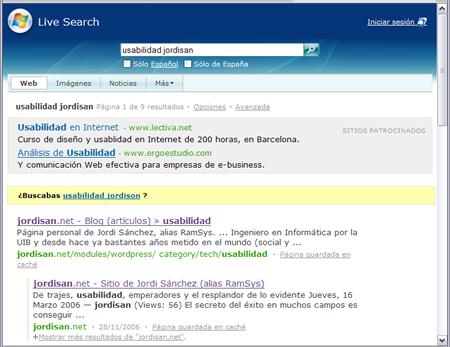 'Live Search': página de resultados