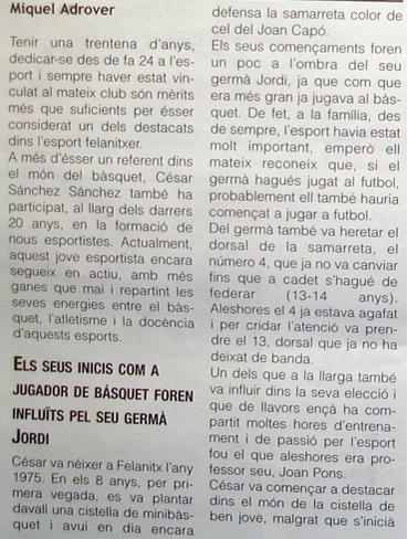 Detalle del artículo en 'El Felanitxer'