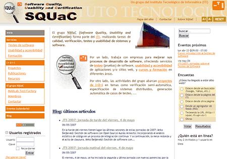 Página inicial del nuevo sitio del grupo SQUaC