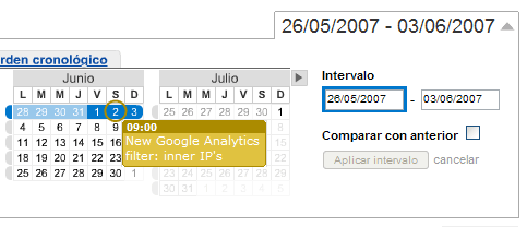 Google Analytics date range selection (with events)