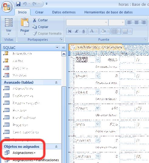 El objeto 'Asignaciones+' está en el grupo 'Objetos no asignados'