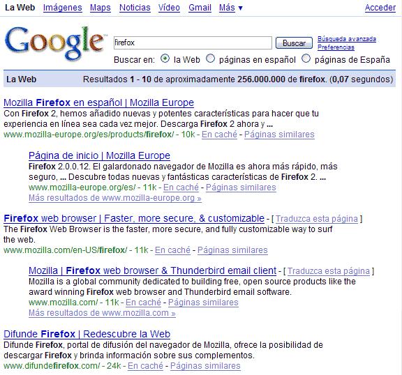 Buscando 'Firefox' en Google