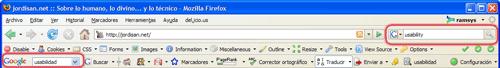 Búsqueda en Google, en la barra de herramientas incorporada de Firefox y en la Google toolbar