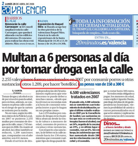 Noticia en el diario '20 minutos'