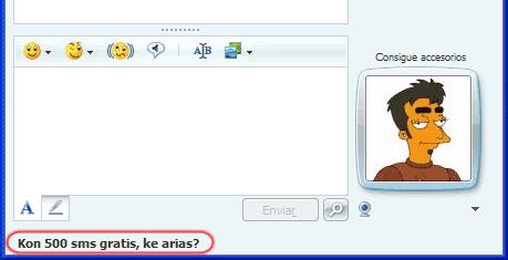Ventana de Messenger con publicidad: 'Kon 500 sms gratis, ke arias?'
