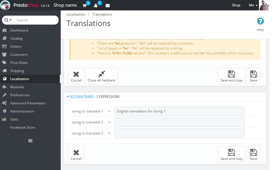 Global translations in PrestaShop's back office