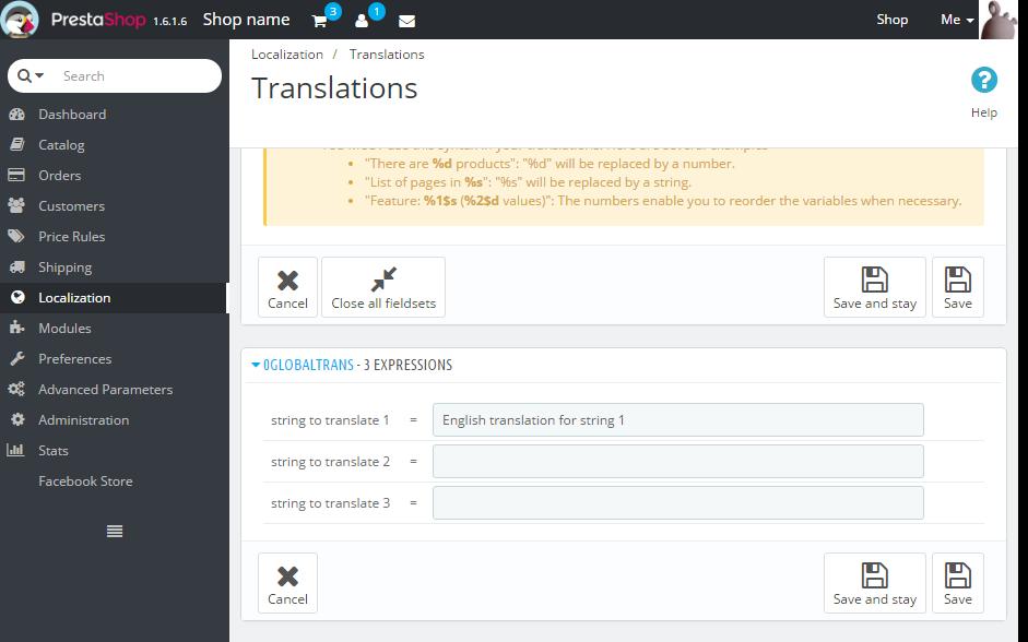 Global translations in PrestaShop's back office