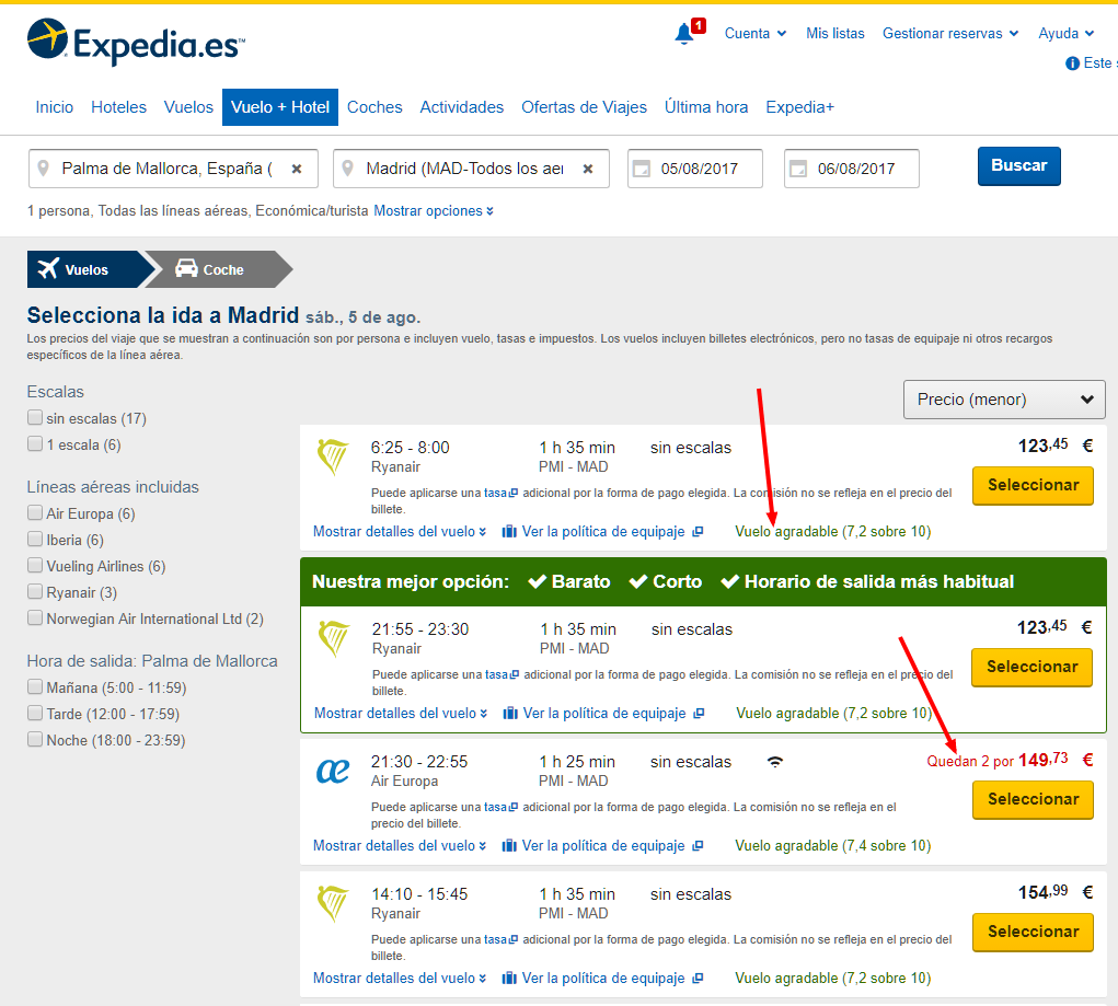 Captura de Expedia